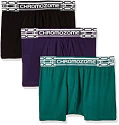 Chromozome Men's Cotton Boxer (Pack of 3) (8902733347280_CR 02_Small_Green, Plum and Black)