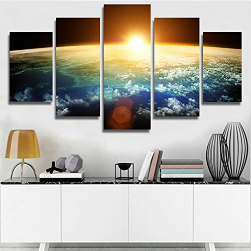 XrsArt 5 Panel Modern Sunrise Space Universe Picture Painting Cuadros Wall Decor Canvas Art Home Decor For Living Room(Unframed) Unframed FCa37 50 inch x30 inch (Universe Pictures compare prices)