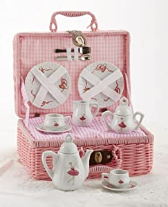 Delton Products Ballerina Tea Set For Two in Basket - 18 Pieces by Delton