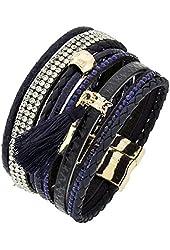 Navy Blue Animal Print Leatherette Rhinestone Tassel Charm Bracelet Auralee & Co.
