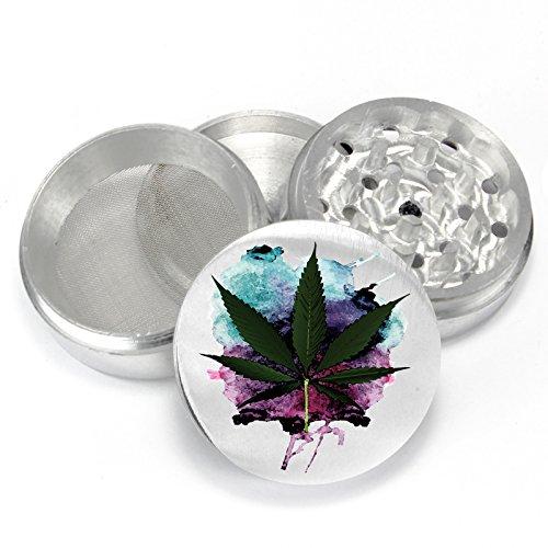 Watercolor-Weed-Design-Uv-PrintDesign-4-Piece-Aluminum-Medicinal-Herb-Tobacco-Spice-Grinder-Crusher-PGR086