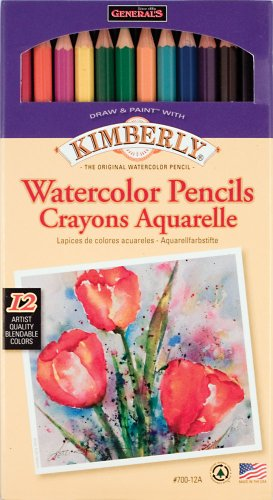 General Pencil Kimberly Watercolor Pencils 12/Pkg-Assorted Colors