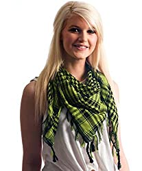 Anuze Fashions New Styles Scarves Arab Shemagh Arafat Scarf For Women's And Girl's (LIGHT-LIME-GREEN-XCCW27)