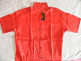 Men 39 s premium 100 thai silk shirt scarlet for Mens silk shirts amazon