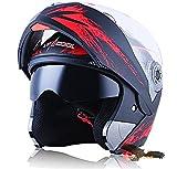 X.N.S(希望)新出荷(6色可選) LV-701 バイクヘルメット フルフェイスヘルメット システムヘルメット モンスターエナジー ダブルシールド ジェット ヘルメット (M, モンスター・黒(艶消し))