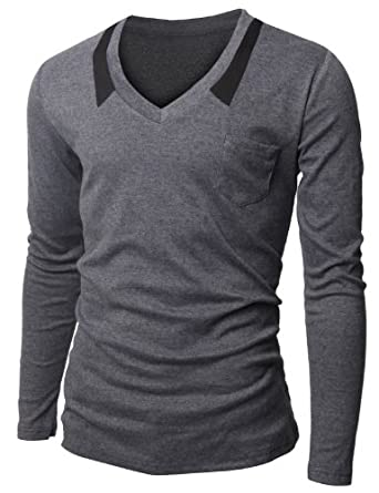 Doublju Mens V-neck T-shrits with Chest Pocket CHARCOAL (US-XS)