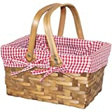 Vintique Wood Rectangular Basket Lined with Gingham Lining, Small