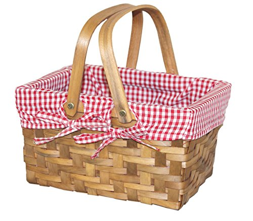 Big Save! Quickway Imports Rectangular Basket Lined with Gingham Lining, Small (Discontinued by Manu...