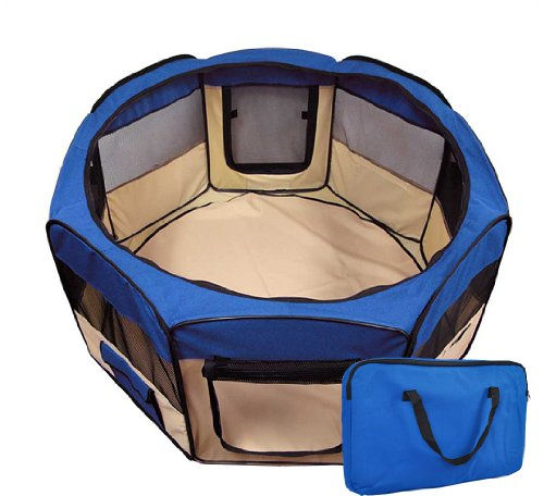 Pet Playpen 2 Door Exercise Kennel Soft Tent Puppy Dog Crate - 3 Sizes And 4 Colors! (Blue, Small)