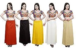 Pistaa combo of Women's Pure Cotton Mango, Coca Cola, Yellow, Cream and Beige Color Best Ethinic Comfortable Inskirt Saree petticoats