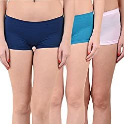 Mynte Women's Sports Shorts (MEWIWCMBP-SHR-105-104-97, Navy Blue, Blue, Baby Pink, Free Size, Pack of 3)