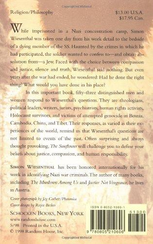 the sunflower essays on forgiveness