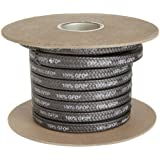 Palmetto Style 1389 100% GFO Expanded PTFE/Graphite Compression Packing Seal, Inert Lubricant, Dull Black