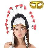 Madrugadaインディアン羽根飾りウォーボンネットベネチアンマスク付き2点セットコスチューム用小物男女共用S256(カラーA)