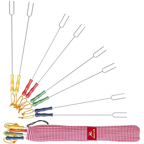 Lowest Prices! Marshmallow Roasting Sticks & Hot Dog Roasting Sticks - Set of 8 Strong Stainless Ste...