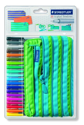 Staedtler Triplus Fineliners 20 Assorted Colours With Magic Zip Pencil Case 334ZPC20