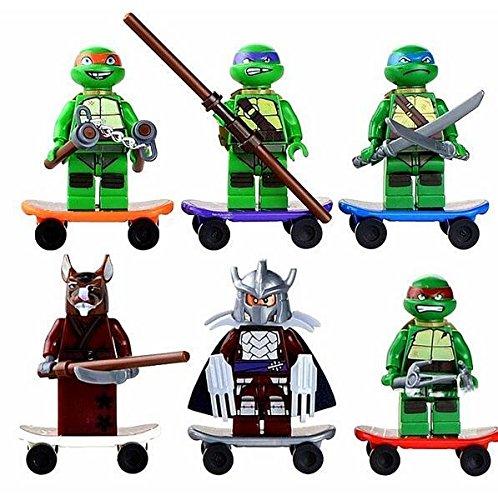 6pcs Teenage Mutant Ninja Turtles 2 Minifigures Figures Building Blocks Toys NEW