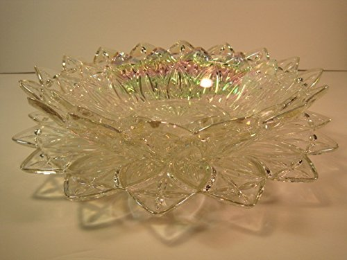 Decorative Antique Carnival Glass Dishes, Set of 3, Candy Dish, Plate, Serving Bowl, 8 1/2-10-11 Inches Antique Carnival Glass
