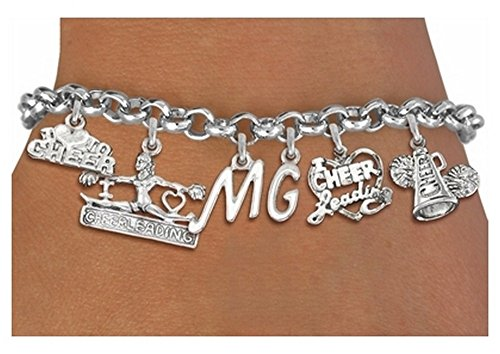 Silvertone Cheer Themed Six Charm Bracelet With Personalized Initials Personalized Cheer Shorts