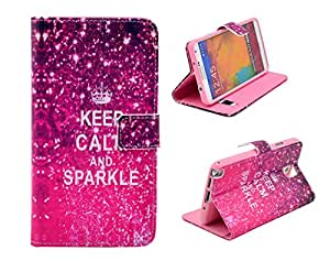 Note 3 Case,Galaxy Note 3 Case, Welity Retro Keep Calm and Sparkle Design Pu Leather with wallet Case for Samsung Galaxy Note 3 Note III N9000 and one gift