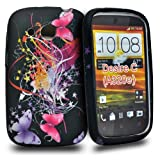 Accessory Master Silicone Case for HTC Desire C Fancy Butterfly Flowers Design Pink / Purple