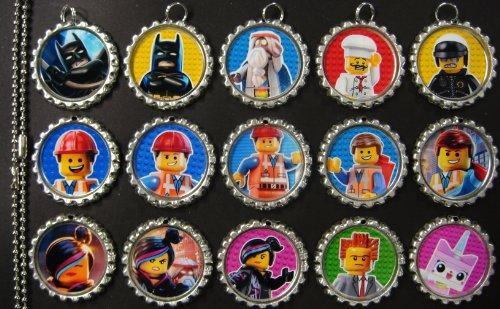 15 Lego Movie Silver Bottle Cap Pendant Necklaces Set 1 front-87071