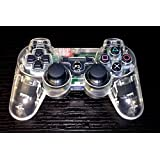 YANX Wireless Double Shock PS3 Game Controller Gamepad Joypad for Playstation 3 - Transparent White