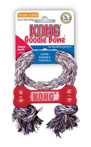 KONG Goodie Bone with Rope Dog Toy, Extra Small, Red