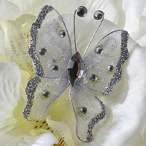 3D Silver Miniature Nylon & Jewel Butterflies for DIY Nature Wall Art & Custom Home Decor ~ Package of 12!