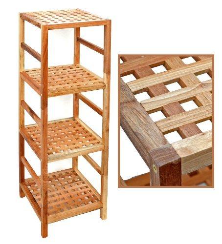Regal-Standregal-Hochregal-107-cm-aus-Walnuss-Massivholz-fr-Bad-Wohnzimmer-Sauna-Flur-Diele-Kche-Bro-und-Kinderzimmer