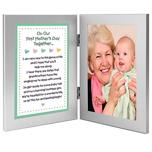 First Mother's Day Gift for Grandmother From Grandchild - New Grandma Poem in a Double Frame - With Room for a Photo - 1