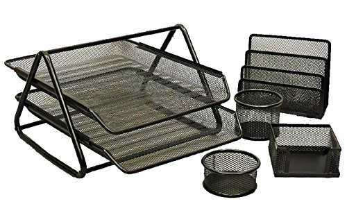 KLEAREX™ 5-Pc Office Desk Set in Black Mesh to Organize Simplify Reduce Workplace Clutter and Improve Efficiency Safco Workspace 5 Shelf