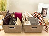 "Storage Containers- Medium Closet Organizer (9.75"" x 13.75"" x 5"") - Sturdy Fabric Basket, Beautiful Linen Exterior- Moisture-free Interior Fabric- For Games, Laundry, Crafts & More (Sand Dunes)"
