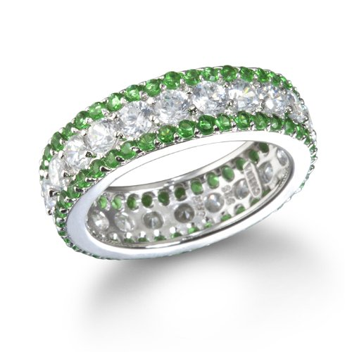 White CZ with Emerald Edge Eternity band Ring