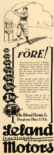 1928 Ad Leland Electric Co. Horsepower Motor Golf Field - Original Print Ad
