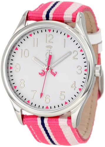 Juicy Couture Women's 1900914 Juicy Stripes Grosgrain Leather Strap Watch