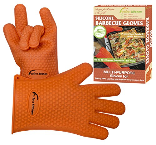 iPerfect Kitchen Premium Silicone Heat Resistant BBQ Oven Gloves - Plus Ebook INCLUDED (Warehouse Deals Smoker compare prices)