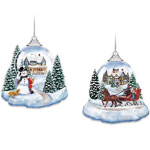 Thomas Kinkade Market First Joy To The World Lighted Holiday Ornaments: Set of 2 by The Bradford Exchange