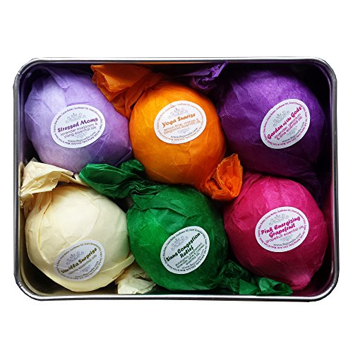 Bath Bombs Gift Set by Rejuvelle- 6 All Natural Assorted Essential Oils Bath Bombs, Infused with Shea Butter and Cocoa Butter. Enjoy a Luxuriously Moisturizing Fizzy Lush Bath. Perfect Relaxation for Fathers Day or Holiday Gift for Her!