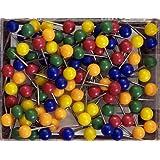 "#100 Series Medium Assorted Colors Round-head Map Tacks, Plain, 1/8"" Head, 5/16"" Point"