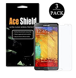 ACEShield Samsung Galaxy Note 3 Smartphone Premium High Definition (HD) Clear Screen Protector [3-Pack] - Retail Packaging- Lifetime Replacement Warranty