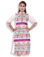 Chhipa Women Hand Block Printed Embroidery Work Pink-Blue Kurti
