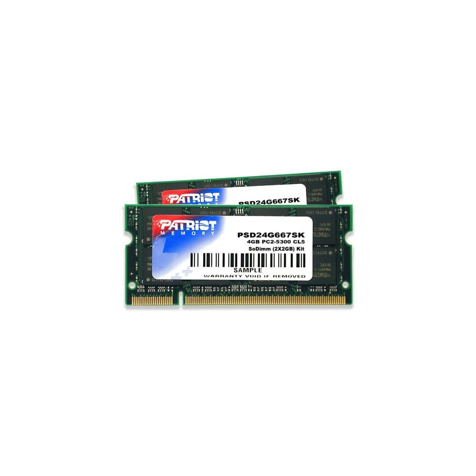 Patriot PSD24G667SK Signature PC2 5300 DDR2 667MHz 4GB SODIMM CAS 5 Dual Channel Kit (Green)