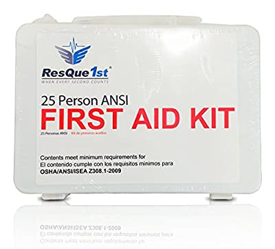 ResQue1st 25 Person ANSI Complete First Aid and Emergency Preparedness Kit from Trauma Quick Solutions