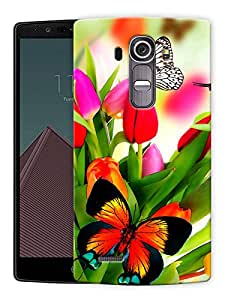 """Butterflies On Flower Printed Designer Mobile Back Cover For """"LG G4"""" By Humor Gang (3D, Matte Finish, Premium Quality, Protective Snap On Slim Hard Phone Case, Multi Color)"""