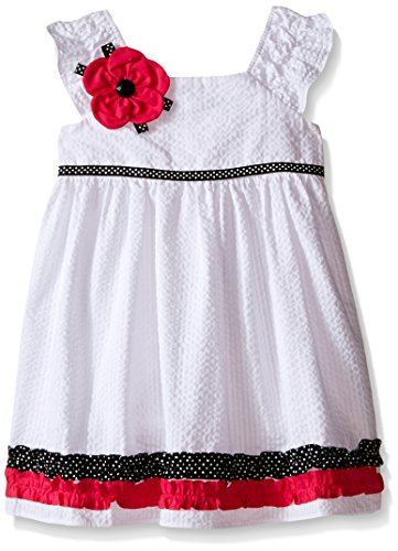 Rare Editions Little Girls W Seersucker Dress, White, 6X