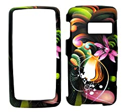 Ln510 Artistic Wave on Black Rubberized Snap on Hard Skin Shell Protector Cover Case for Lg Rumor Touch Ln510