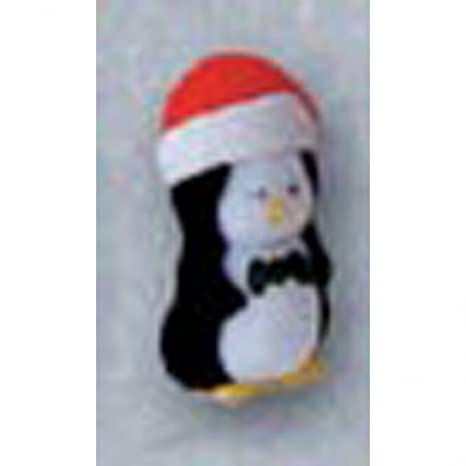 Flocked Penguin - Christmas with Red Santa Hat - 1.5 inches - 12 pieces
