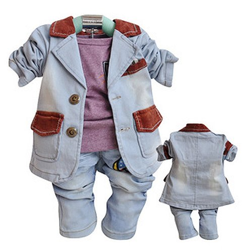 Sopo Baby Boys Denim Suits 3Pcs Set Cowboy Style Jacket, Tshirt, Jeans 1-3Y