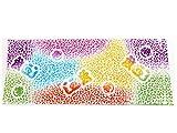 魚河岸手ぬぐい【静岡県郷土工芸品・注染そめ】104白色×虹色グラデーション ヒョウ柄